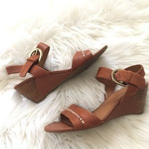 Franco Sarto Brown Leather Wedge Sandals 7